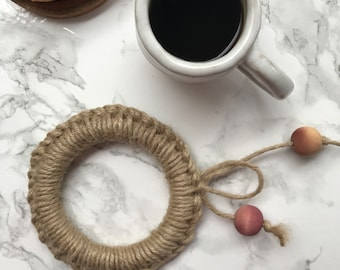 Handmade trivet with natural dyed details