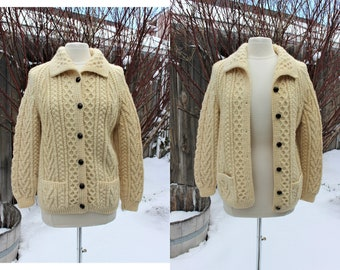 1990's Hand Knit Ivory/Beige Wool Fisherman's Cardigan Sweater Small Irish Aran Celtic Traditional Winter Bulky