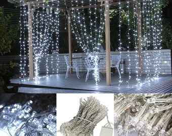 Bright LED Curtain Fairy Lights  300 Ct 9.8 FT X 9.8 FT  Weddings Christmas Holidays Parties Home Decor