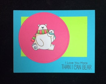 Love You More Polar Bear Greeting Card
