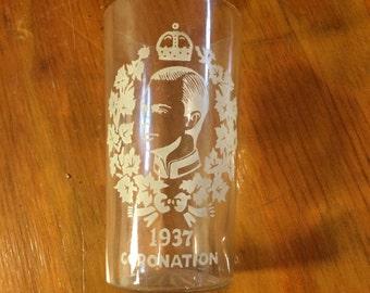 Vintage 1937 Coronation Edward VII Glass