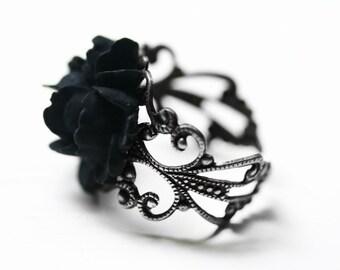 Black Rose Ring in Silver - Adjustable