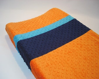Orange Changing Pad Cover with Stripes