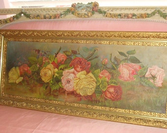 Sale Antique ROSES Yard-long Oil Painting Pink Yellow Red Cabbage ROSES Stretched Canvas Ornate Gold Gilt Gesso Wood Frame