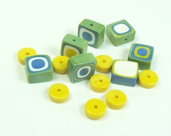NOW ON SALE Polymer Clay Bead Slices and Spacers - Handmade - Blue, Green, Yellow and White