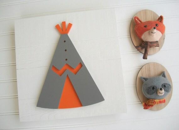 Tribal Nursery . Teepee . Teepee Nursery. Teepee Sign .Wood TeePee . Orange. Grey . Tribal Nursery Art . Woodland Nursery . Big Boy Room