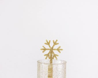 Snowflake Drink Stirrers,Reindeer,Rudolph,Drink Stirrer,Gold Swizzle Sticks,Christmas Decorations,Winter,Stir Stick,Cocktail,Gift ideas,6 Pk