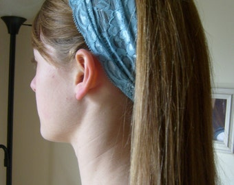 Stretch Lace Headband/Head Covering----Victorian Blue