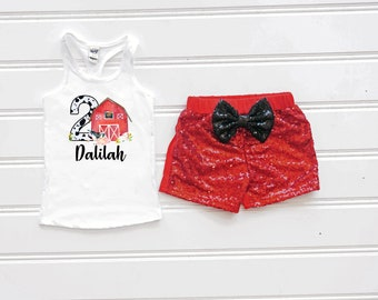 Red Barnyard Birthday Outfit, Cow Print Birthday Outfit, Barnyard Birthday Shirt, Red Sequin Shorts, Barn Birthday, Farm Birthday Outfit