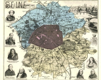 Vintage Map - Paris, France 1880