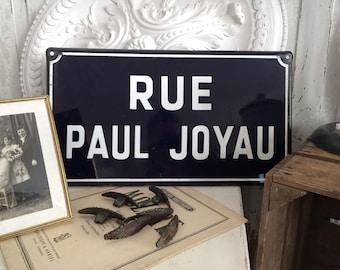Vintage Enamel-sign France rue Paul Joyau/Old French road sign
