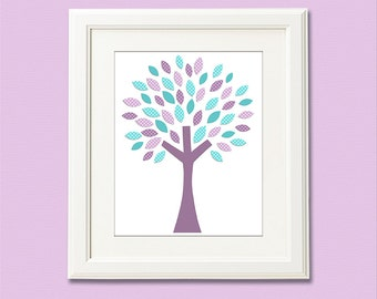 Purple aqua and teal baby girl Nursery Art Print - 8x10 - Children wall art, tree, teal, lilac, lavender - UNFRAMED