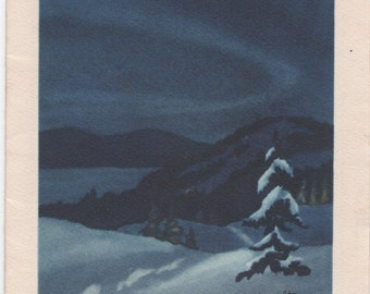 Christmas Card c1950s, Northern Night by S. L. Hamilton, Used, good shape, Vintage