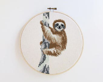 Happy Sloth Embroidery - Modern cross stitch pattern PDF - Instant download