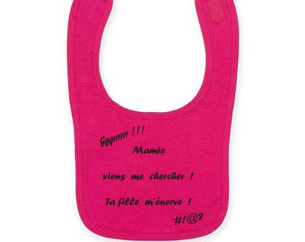 """Personalized baby bib """"Grandma your son me angry / your daughter Grandma me angry"""""""