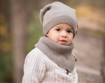 Knitted Kids Slouchy Hat, Warm Kids Beanie, Toddler Boy Hat, Toddler Girl Beanie, Warm Winter Kids Hat, Baby Boy Beanie, Knit Baby Girl Hat