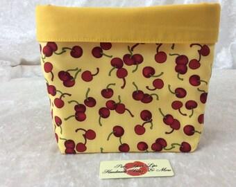 Handmade Fabric Basket Storage Bin Tall Cherries