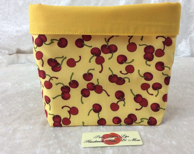 Handmade Fabric Basket Storage Bin Tall Cherries