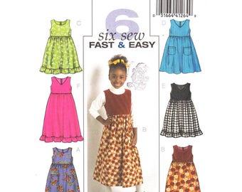 Girls Jumper Pattern Butterick 4906 Sleeveless Dress Ruffle Hem Size 6 7 8 Girls Sewing Pattern UNCUT