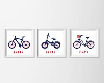 Personalized Bike Wall Art Printable, Family Wall Art, Mama Daddy Navy Red Artwork, Name Nursery Art Toddler Boy Art, Personalized Gift