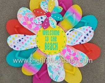 "Adorable ""Welcome to the Beach"" Flip Flop Wreath Wall Door Decor Beach Ocean"