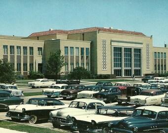 Vintage 1960s Postcard Texas Christian University Fort Worth College School Campus Horned Frogs Athletics Photochrome Era Postally Unused