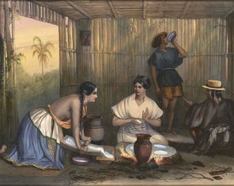 Poster, Many Sizes Available; Las Tortilleras Women Making Tortillas, Early 19Th Century Mexico By Frederic Lehnert