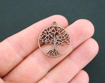 6 Tree of Life Charms Antique Copper Tone 2 Sided- BC1365