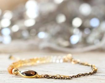 Citrine Bracelet - Smoky Quartz Bracelet - November Birthstone Bracelet - Citrine Jewelry - Gold, Yellow Bracelet - Dainty Bracelet