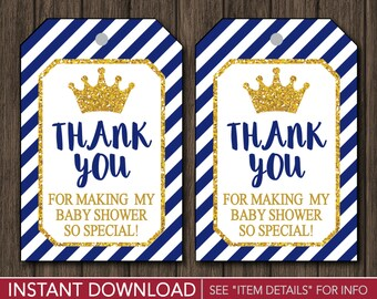 Prince Baby Shower Favor Tags | Prince Thank You Party Favor Tags | Printable Digital File | INSTANT DOWNLOAD