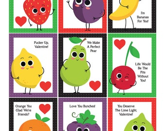 Funny Fruit Printable Valentines, Download and Print!