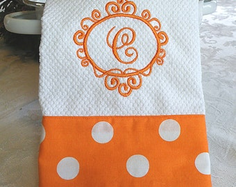 Monogrammed Kitchen Towel, Monogrammed Dish Towel, Orange with Large White Dots