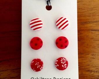 Button Earrings, fabric