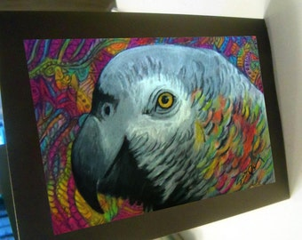 greeting card African Grey parrot blank card