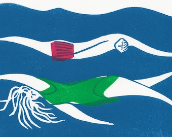 Swimmers Print | Hannah Forward | Linocut | Linoprint | Printmaking | Swimming Print | Print Gift | Limited Edition Print | Affordable Art
