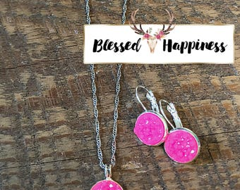 "Hot Pink Druzy 22"" Necklace and Dangle Earring Gift Set"
