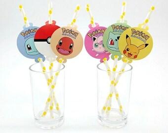 12 Pokemon Paper Straws  ~ Birthday Party Supplies Favors ~ Pokemon Straws