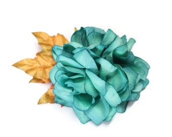 SALE Teal & Gold Glittered Fall Pinup Rose Flower Hair Fascinator Clip