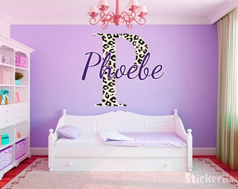 "Leopard Print Monogram Name Girls Room Vinyl Wall Decal Graphics 15"" Tall Bedroom Decor"