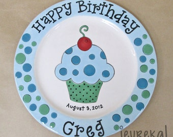 "Mixed Polka Dot Cupcake Birthday Plate - Large 10.5"" Ceramic Plate"
