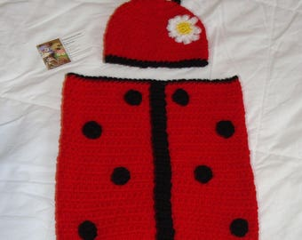 Crochet Lady Bug Cocoon Set