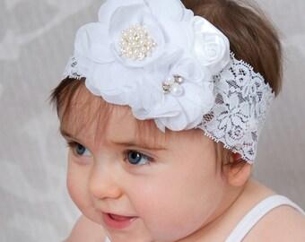 White Baby headband, baby headbands Christening Headband, baptism headband,Newborn Headband,Ivory baby headband, Flower White lace headband.