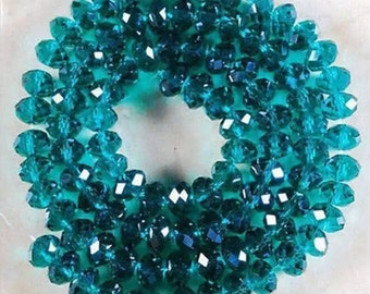 Green Crystal rondelle Beads 35pcs 8mm    AG42