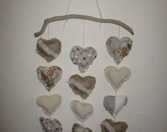 Mobile hanging hearts in Driftwood