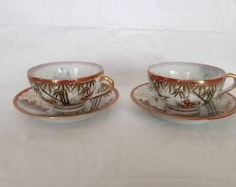 Kutani Japan Bone China Cups and Saucers Style #246 Porcelain Birds Bamboo Temple Motif