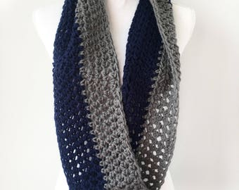 Blue and Silver Grey Knit Crochet Circle Infinity Scarf