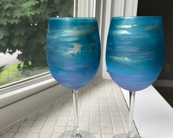 Hand Painted Blue and Purple Wine Glasses