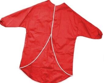 Red Half Sleeve Plastic Fabric Waterproof Apron for Kids Cooking & Art 65cm