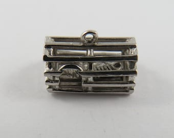 Mechanical Lobster Trap With Movable Lobster Caught Inside Sterling Silver Charm or Pendant.