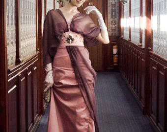 Edwardian Misty Rose Dress, Downtown Abbey 1910s Gown